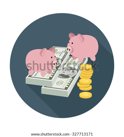 Piggy Bank Colored Vector Illustration