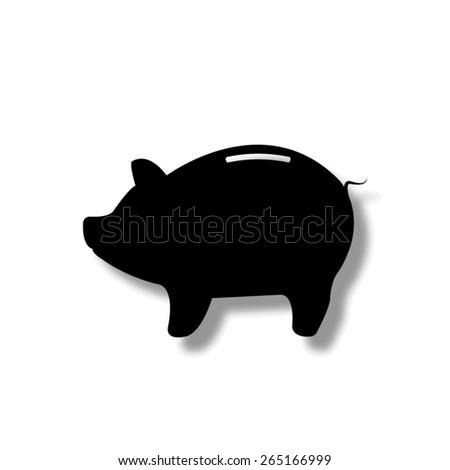 Piggy bank - saving money   - vector icon with shadow - stock vector