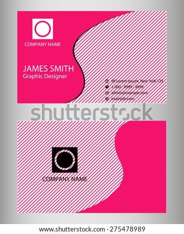 Pink Business Card design set  - stock vector
