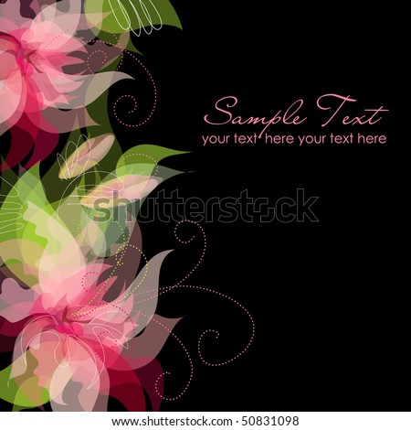 Pink Flowers on black Background - stock vector
