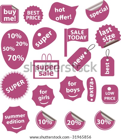 20 pink shop stickers. vector