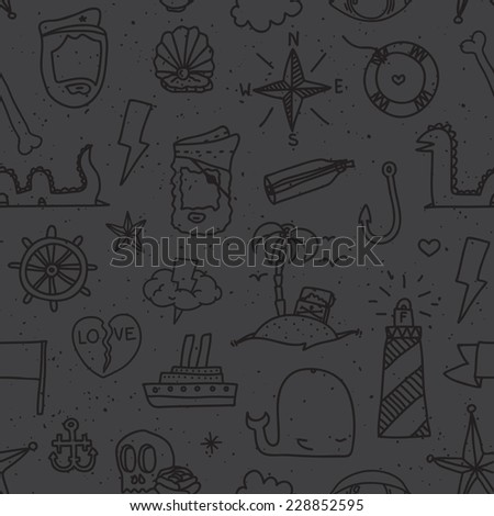 """Pirate tattoo"" seamless vector pattern (black)"