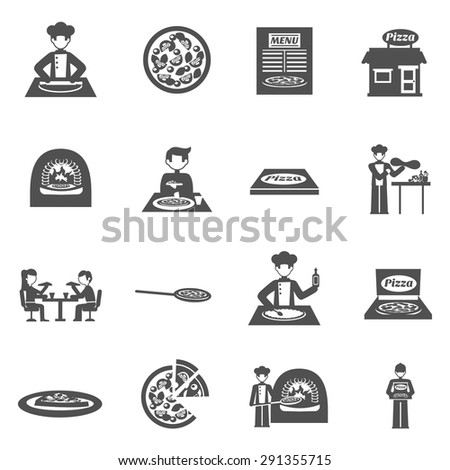 Pizzeria and pizza delivery black white icons set with oven and menu flat isolated vector illustration  - stock vector