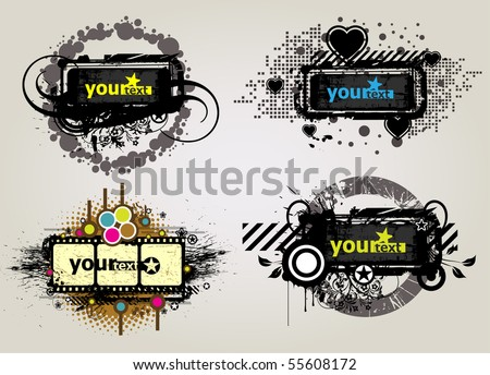 4 Placard with Banner in dark street style - stock vector