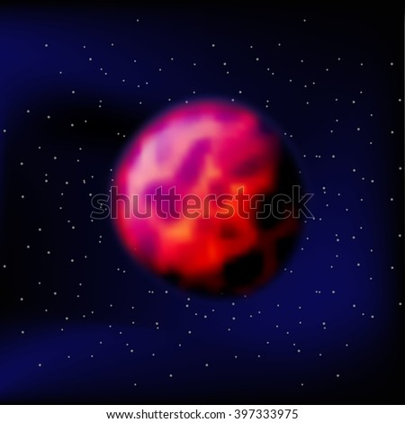 planet Mars. The Red Planet Mars. Mars in a black space. Silhouette of the planet Mars. Kratory and the surface of Mars. - stock vector