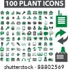 100 plant & factory icons set, signs, vector - stock vector