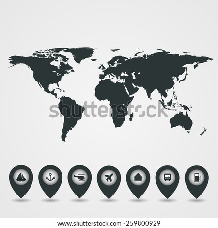 Pointers on white background with map - stock vector