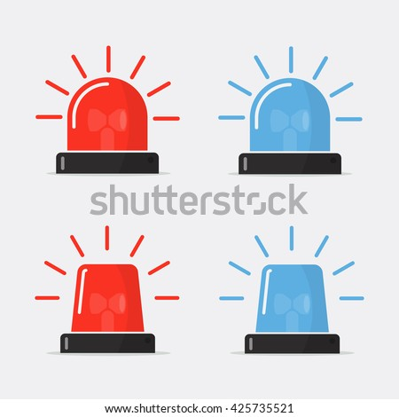 Police flasher, siren vector set. Red and blue sirens, flashers ambulances. Icons for alarm or emergency cases. Collection of alert flashing lights in a flat style.  - stock vector