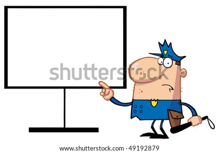 Police Man Pointing To A Blank Sign - stock vector