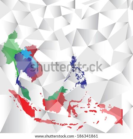 polygon asean Economic Community, AEC - stock vector