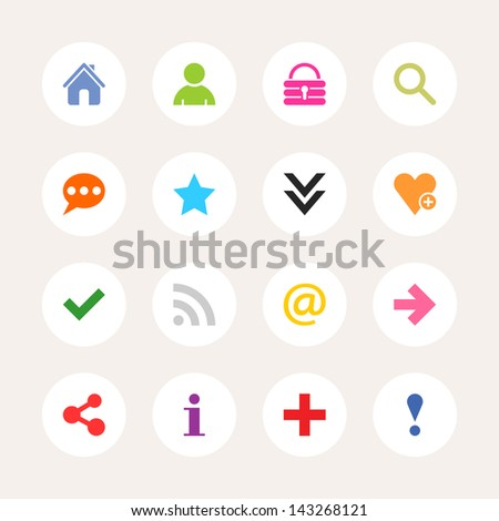 16 popular colors icon basic sign. Color on white. Set 05. Simple circle internet button. Solid plain monochrome color flat tile. Minimal metro style. Vector illustration web design elements 8 eps - stock vector
