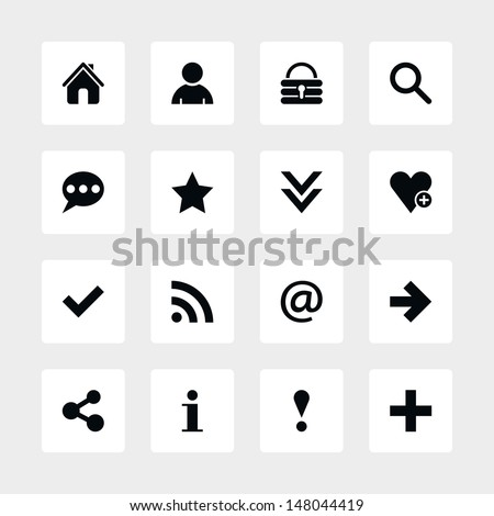 16 popular colors icon basic sign set 05. Black pictogram white rounded square button. Solid plain monochrome flat tile simple contemporary modern style. Web design element vector illustration 8 eps - stock vector