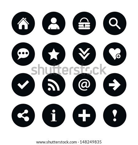 16 popular colors icon basic sign set 05. White pictogram on black circle button. Solid plain monochrome flat tile. Simple contemporary modern style. Web design element vector illustration 8 eps - stock vector