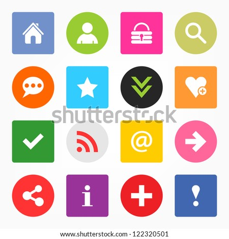 16 popular colors icon with basic sign. Simple circle and rounded square internet button. Solid plain monochrome flat tile metro style. Vector illustration web design elements saved 8 eps - stock vector