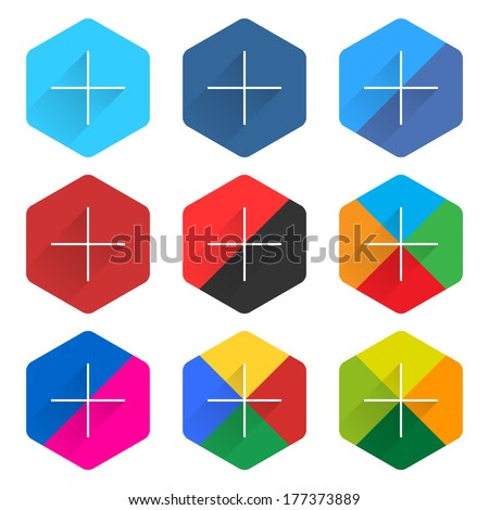 9 popular social network web icon set with plus adding sign long shadow. Hexagon button on white background. New simple flat clean plain tidy solid style. Vector illustration design element 10 eps - stock vector