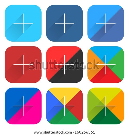 9 popular social network web icon set with plus adding sign with long shadow on white background. New simple flat, clean, plain, tidy, solid style. Vector illustration internet design element 10 eps - stock vector