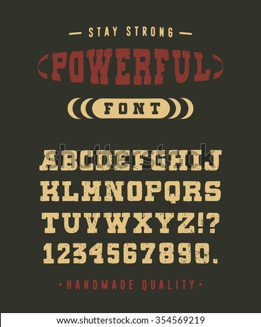 85 POWERFUL FONT crafted retro vintage typeface design. Original handmade textured lettering type alphabet on navy background. Authentic handwritten font, vector letters. - stock vector