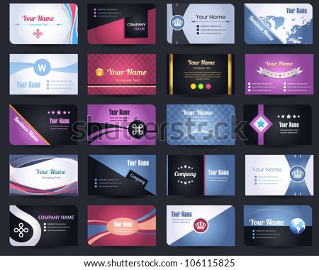 20 Premium Business Card Design Vector Set - 06 - stock vector