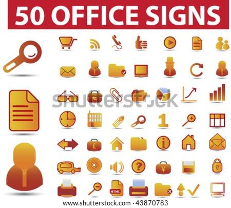 50 premium office signs. vector - stock vector