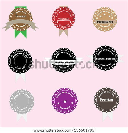 9 Premium Quality Label Collection in Vintage Style, Money back - stock vector