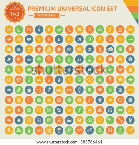 143 Premium Universal icon set,clean vector