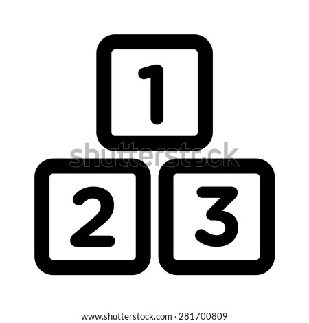 123 preschool learning blocks line art icon for apps and websites - stock vector