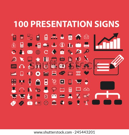 100 presentation, business, infographics, marketing, management icons, signs, vector illustrations - stock vector