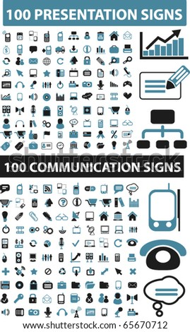 200 presentation & communication signs. vector - stock vector