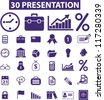 30 presentation icons set, vector - stock vector