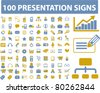 100 presentation icons, signs, vector illustration - stock vector