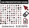 100 presentation icons, signs, vector illustrations - stock vector