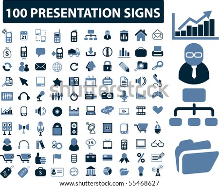 100 presentation signs. vector - stock vector