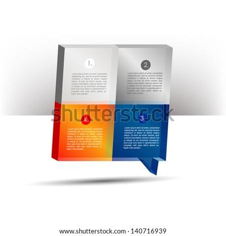 Presentation template 3D cube graph. Speech bubble diagram. Infographics web elements. - stock vector