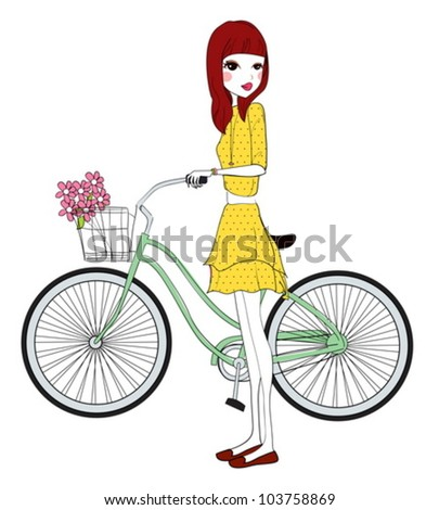 pretty girl with bicycle - stock vector