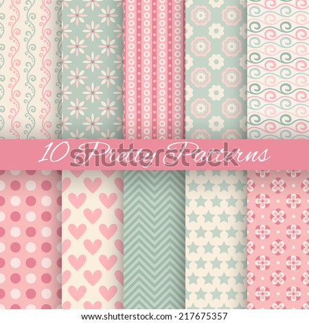 10 Pretty Pastel Vector Seamless Patterns Endless Texture Can Be Used For Wallpaper Fill