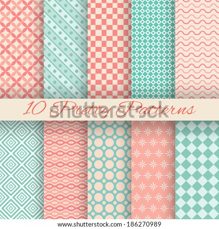 10 Pretty pastel vector seamless patterns (tiling, with swatch). Endless texture can be used for wallpaper, fill, web background, texture. Set of abstract cute ornaments. Blue, beige, red colors. - stock vector