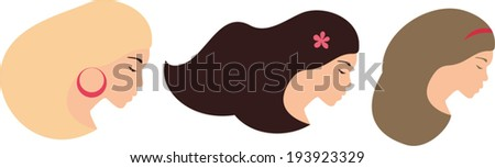 3 pretty woman faces set - stock vector