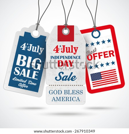 3 price stickers 4th july on the gray background.Eps 10 vector file. - stock vector