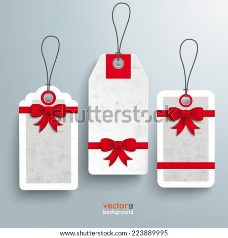 3 price stickers with ribbons on the grey background. Eps 10 vector file. - stock vector
