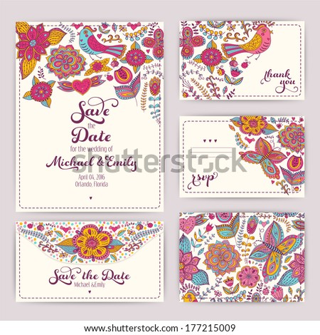 Printable Wedding Invitation Template: invitation, envelope, thank you card, save the date cards. Wedding set. RSVP card. Marriage event. Valentine, seamless pattern is masked and complete. - stock vector