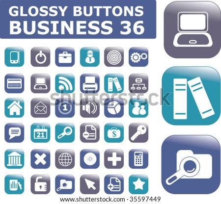36 pro business glossy buttons. vector - stock vector