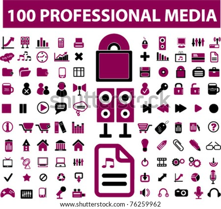 100 professional media signs, icons, vector illustrations - stock vector