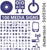100 professional media signs. vector - stock vector