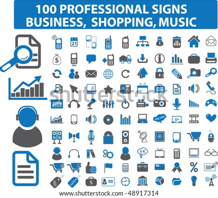 100 professional signs: business, shopping, music. vector