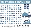 100 professional signs, icons, vector illustrations - stock vector