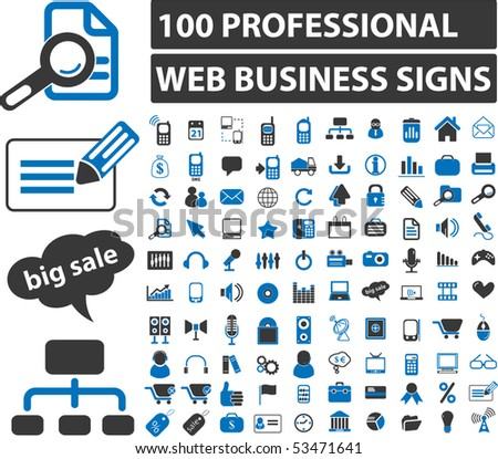 100 professional web business signs. vector - stock vector