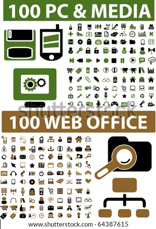 200 professional web office & media signs. vector - stock vector