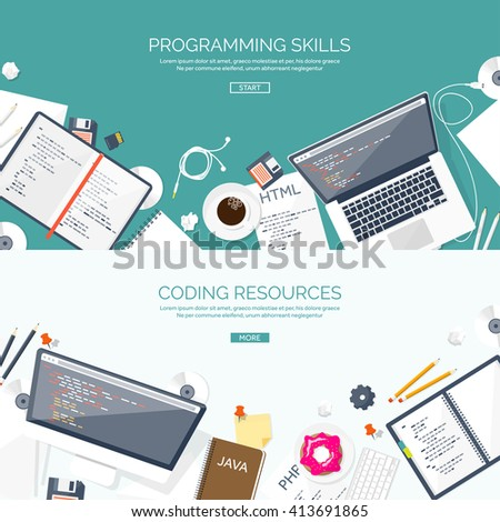 Programming and coding background.Flat design.Program source code.Software coding,testing,debugging.Mobile apps programming.SEO.Search engine. Programming languages for code learning.Coding tutorials - stock vector