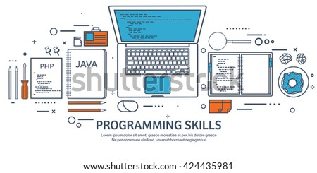 Programming,coding background.Flat outline style.Line art. Stroke lines.Program code.Software coding,testing,debugging.Mobile apps programming.SEO.Programming language,code learning.Coding tutorials - stock vector