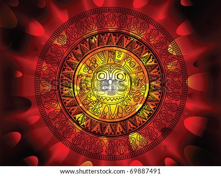 2012 prohecy of the Maya's, showing a Mayan calendar on a hot fiery explosive apocalypse background - stock vector